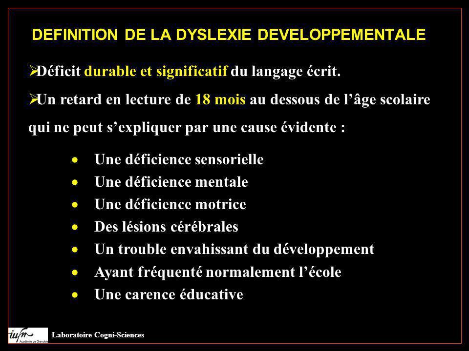DEFINITION DE LA DYSLEXIE DEVELOPPEMENTALE  Déficit durable et significatif du langage écrit.  Un retard en lecture de 18 mois au dessous de l'âge s
