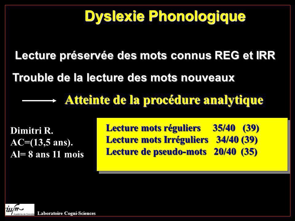 Dyslexie Phonologique Lecture préservée des mots connus REG et IRR Trouble de la lecture des mots nouveaux Atteinte de la procédure analytique Dimitri