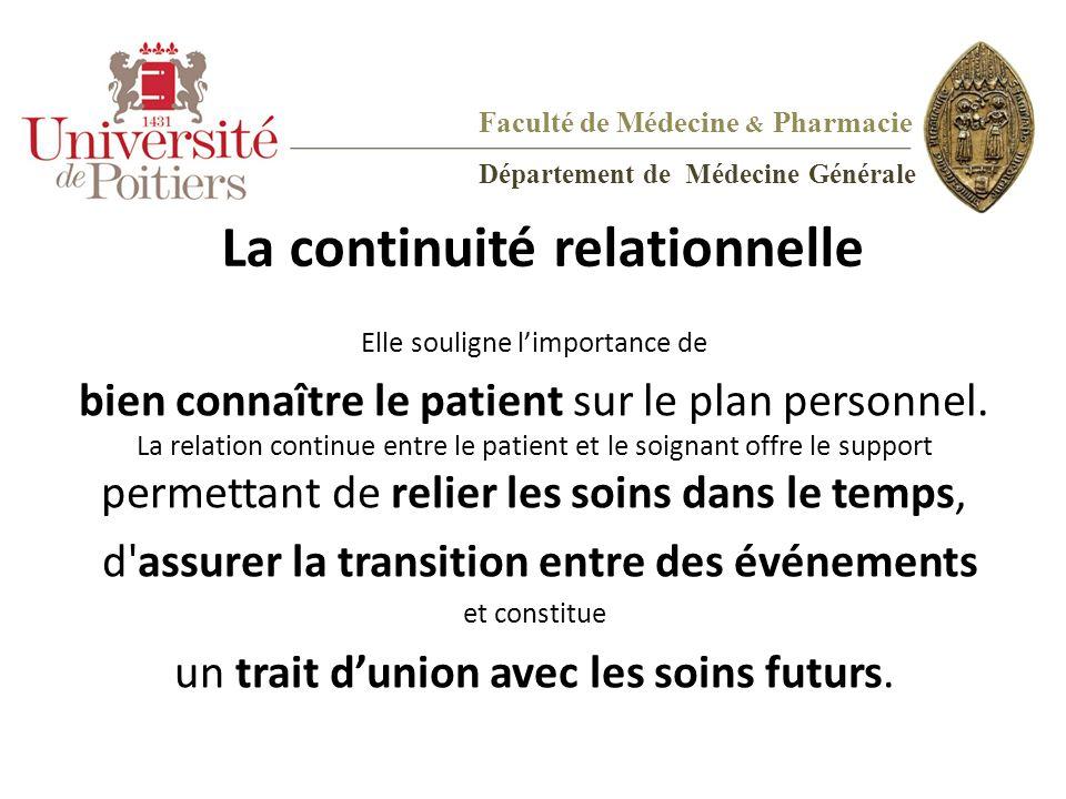 La continuité relationnelle Elle souligne l'importance de bien connaître le patient sur le plan personnel. La relation continue entre le patient et le