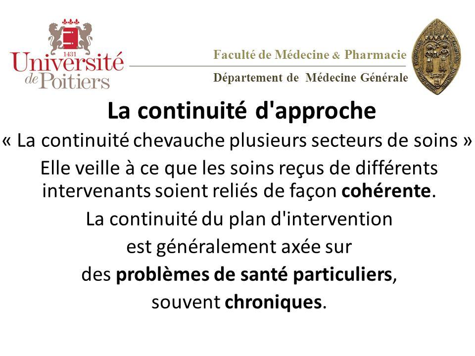 Faculté de Médecine & Pharmacie Département de Médecine Générale La continuité d'approche « La continuité chevauche plusieurs secteurs de soins » Elle