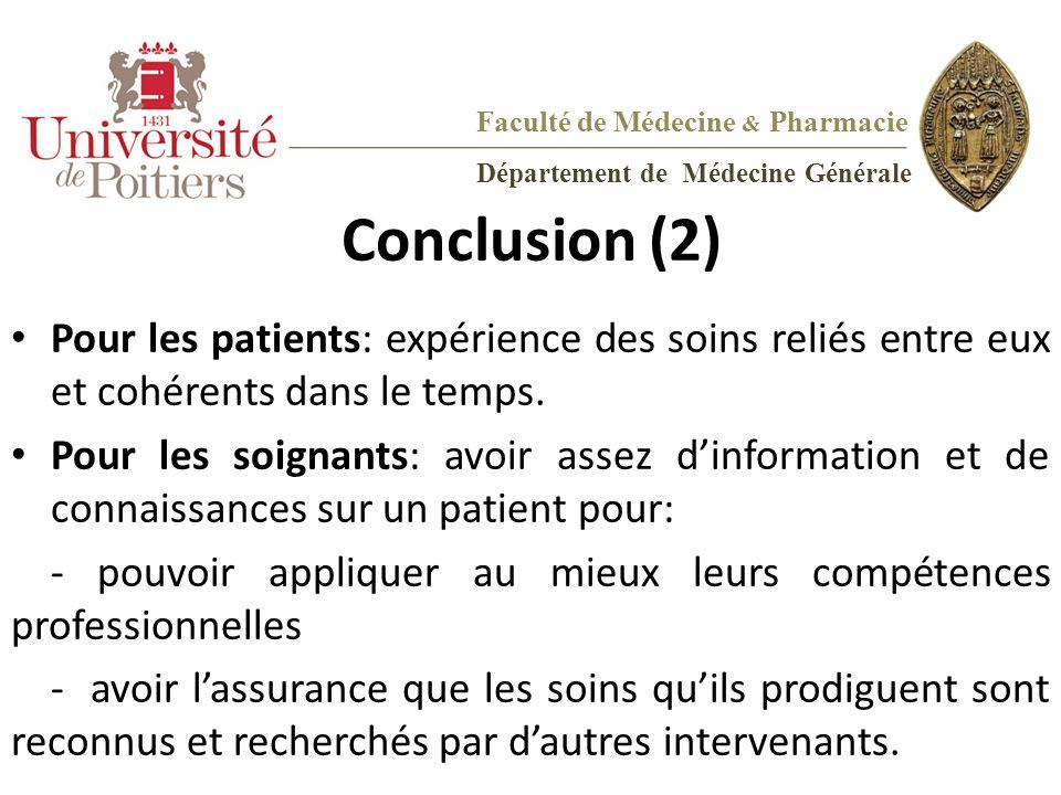Conclusion (2) Pour les patients: expérience des soins reliés entre eux et cohérents dans le temps. Pour les soignants: avoir assez d'information et d