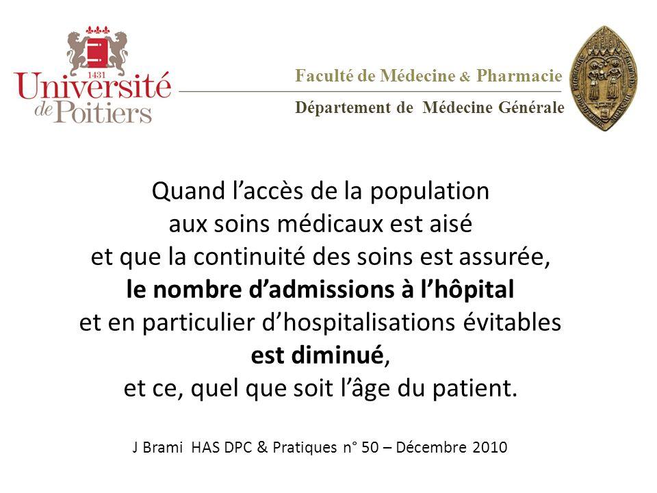 Quand l'accès de la population aux soins médicaux est aisé et que la continuité des soins est assurée, le nombre d'admissions à l'hôpital et en partic