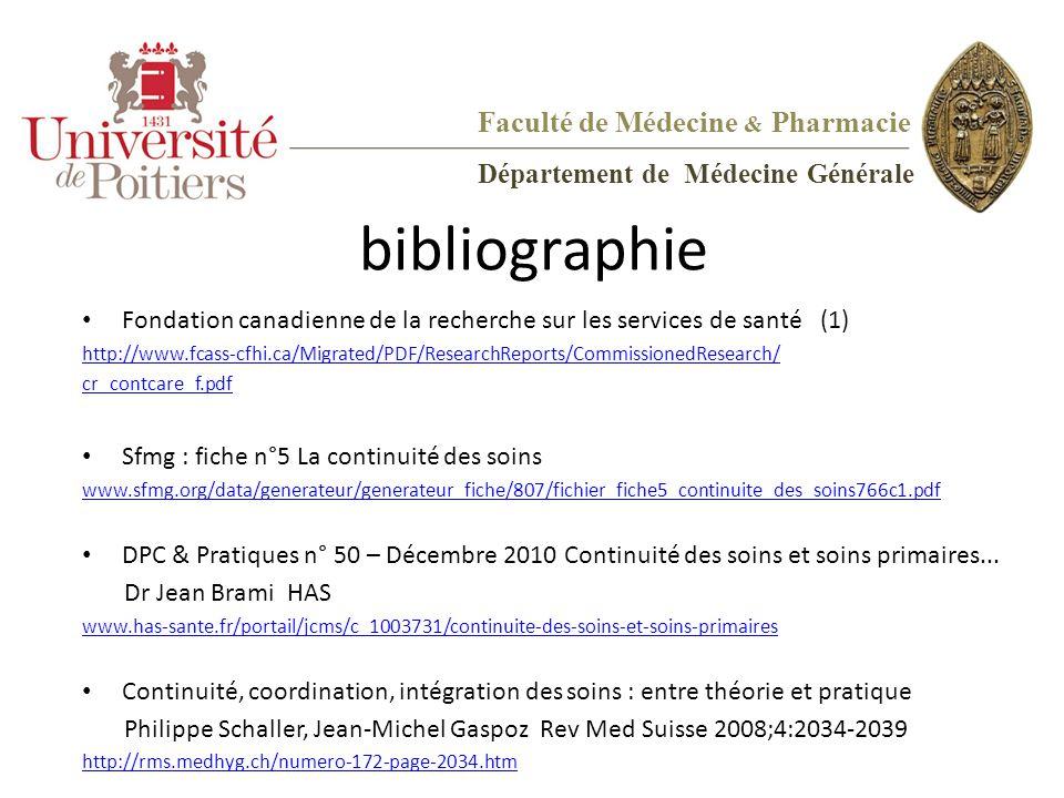 bibliographie Fondation canadienne de la recherche sur les services de santé (1) http://www.fcass-cfhi.ca/Migrated/PDF/ResearchReports/CommissionedRes