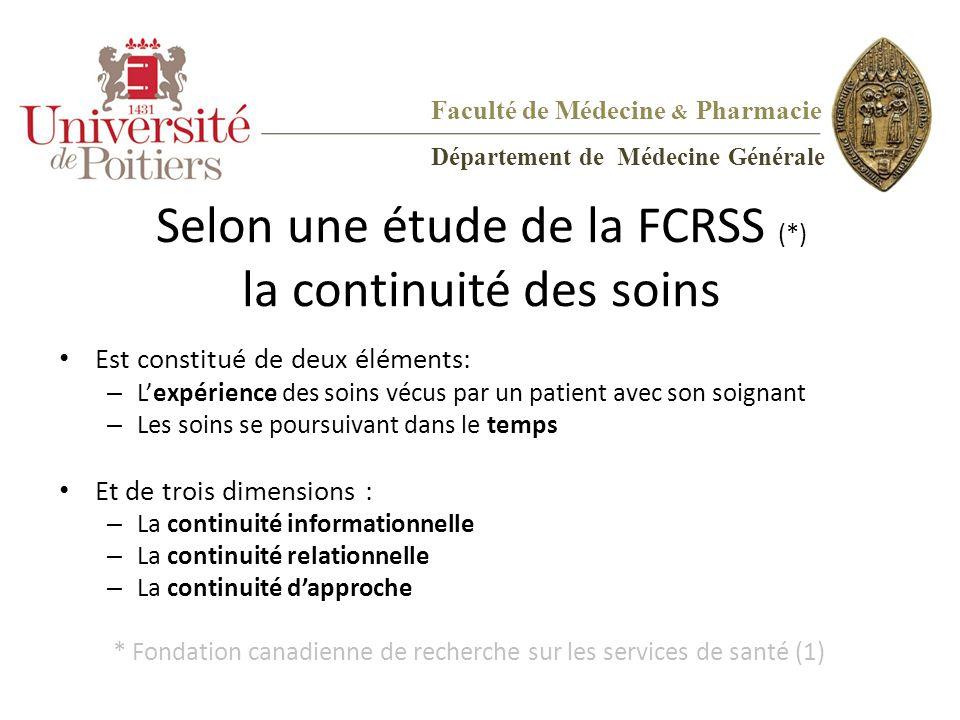 Selon une étude de la FCRSS (*) la continuité des soins Est constitué de deux éléments: – L'expérience des soins vécus par un patient avec son soignan