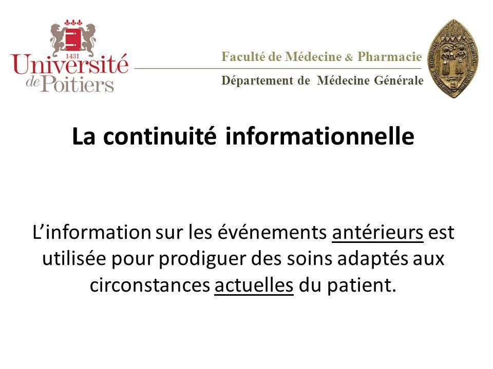 La continuité informationnelle L'information sur les événements antérieurs est utilisée pour prodiguer des soins adaptés aux circonstances actuelles d