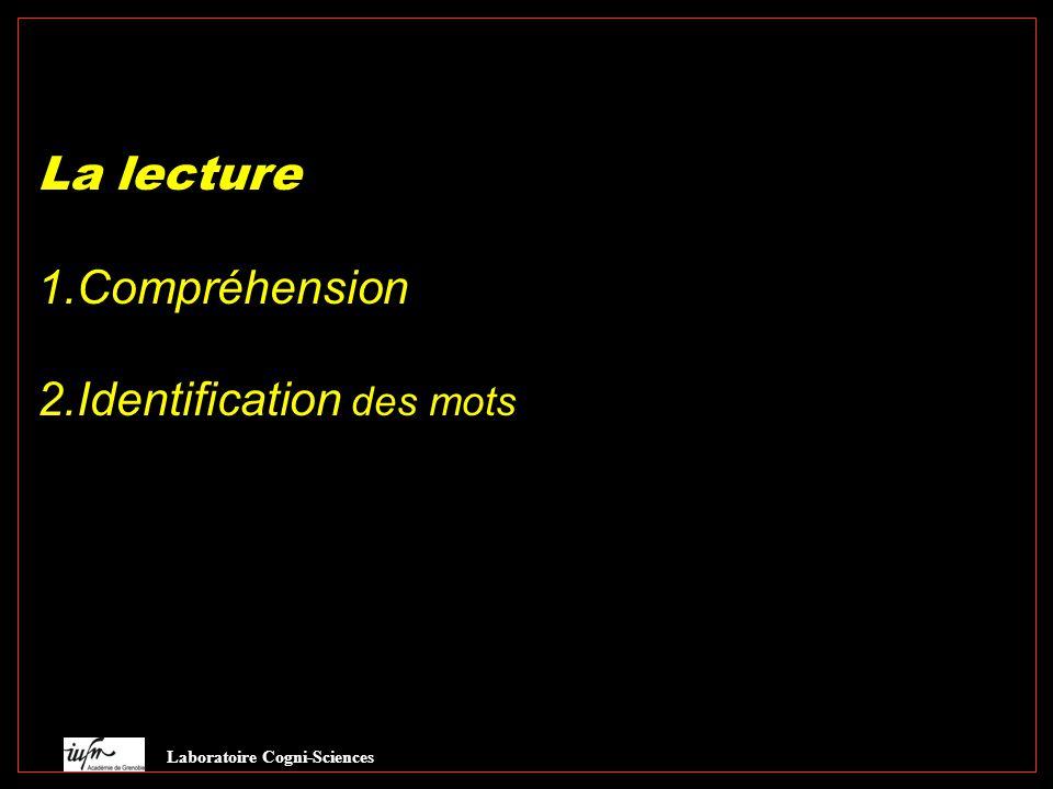 La lecture 1.Compréhension 2.Identification des mots Laboratoire Cogni-Sciences Lang écrit