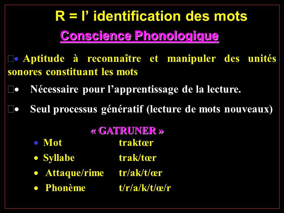 R = l' identification des mots Conscience Phonologique Conscience Phonologique  Aptitude à reconnaître et manipuler des unités sonores constituant les mots  Nécessaire pour l'apprentissage de la lecture.