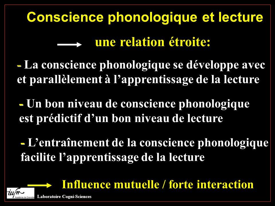 Conscience phonologique et lecture une relation étroite: - - La conscience phonologique se développe avec et parallèlement à l'apprentissage de la lecture - - Un bon niveau de conscience phonologique est prédictif d'un bon niveau de lecture - - L'entraînement de la conscience phonologique facilite l'apprentissage de la lecture Influence mutuelle / forte interaction Laboratoire Cogni-Sciences