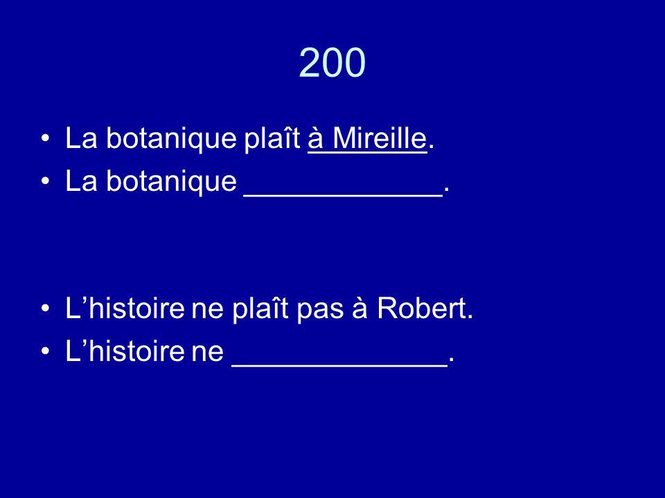 200 La botanique plaît à Mireille. La botanique ____________.