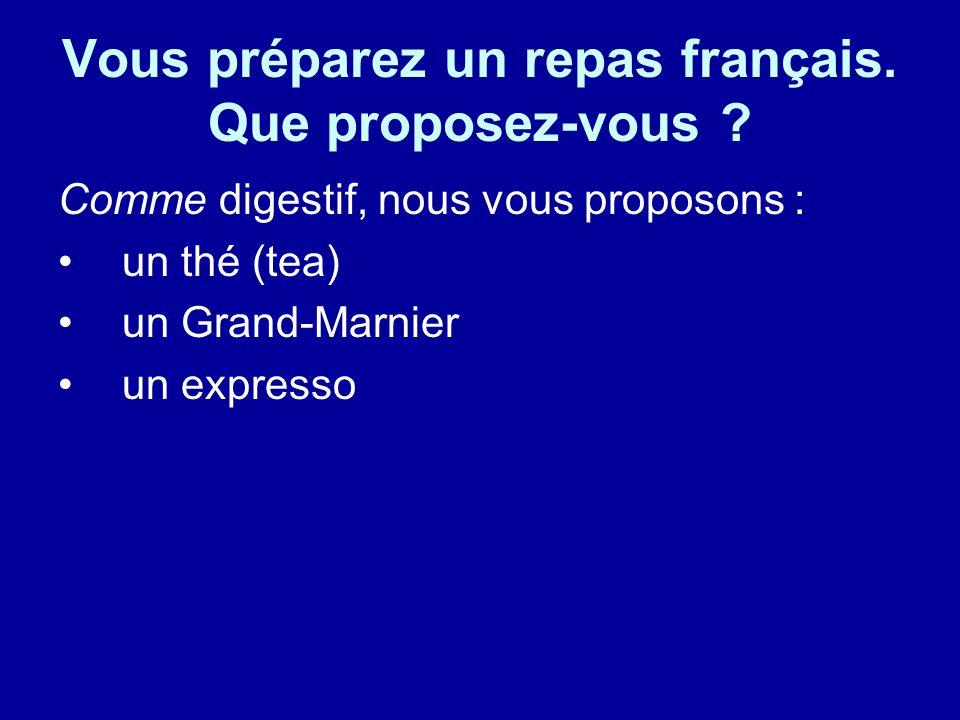 Vous préparez un repas français. Que proposez-vous .