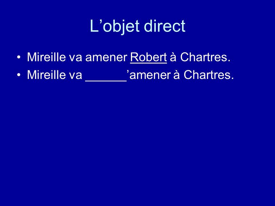 L'objet direct Mireille va amener Robert à Chartres. Mireille va ______'amener à Chartres.