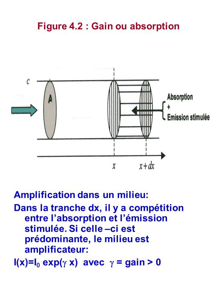 Figure 4.2 : Gain ou absorption Amplification dans un milieu: Dans la tranche dx, il y a compétition entre l'absorption et l'émission stimulée. Si cel