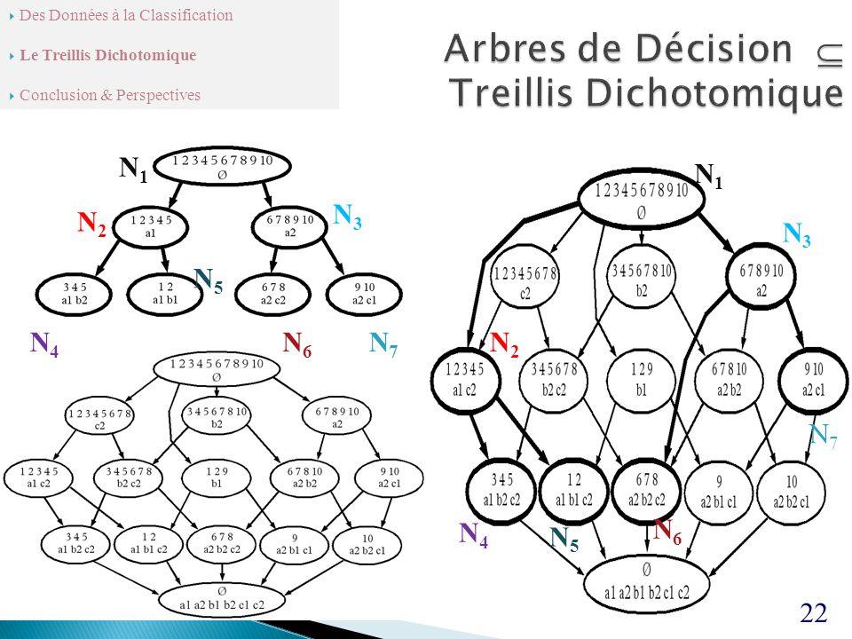 22 N1N1 N2N2 N3N3 N4N4 N7N7 N6N6 N5N5 N1N1 N2N2 N3N3 N4N4 N5N5 N6N6 N7N7  Des Données à la Classification  Le Treillis Dichotomique  Conclusion & Perspectives