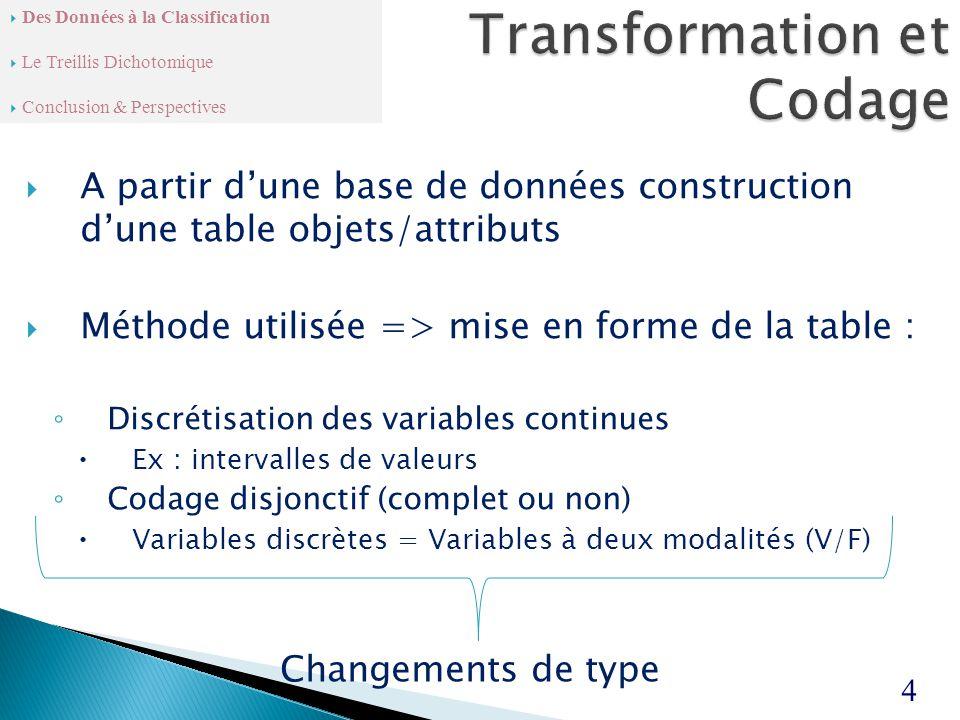  A partir d'une base de données construction d'une table objets/attributs  Méthode utilisée => mise en forme de la table : ◦ Discrétisation des variables continues  Ex : intervalles de valeurs ◦ Codage disjonctif (complet ou non)  Variables discrètes = Variables à deux modalités (V/F) 4  Des Données à la Classification  Le Treillis Dichotomique  Conclusion & Perspectives Changements de type