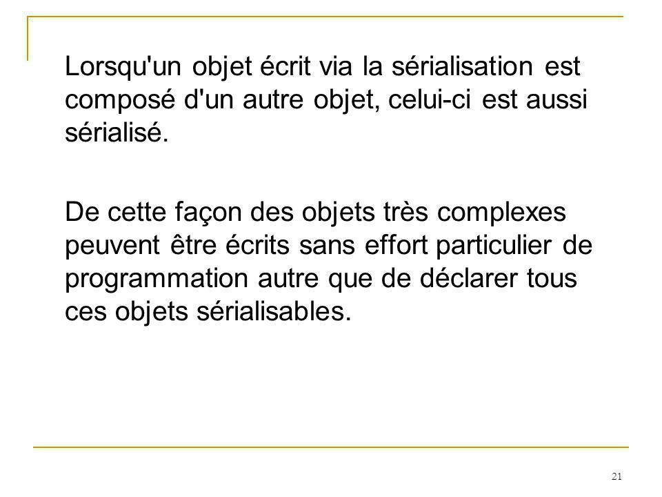 21 Lorsqu un objet écrit via la sérialisation est composé d un autre objet, celui-ci est aussi sérialisé.