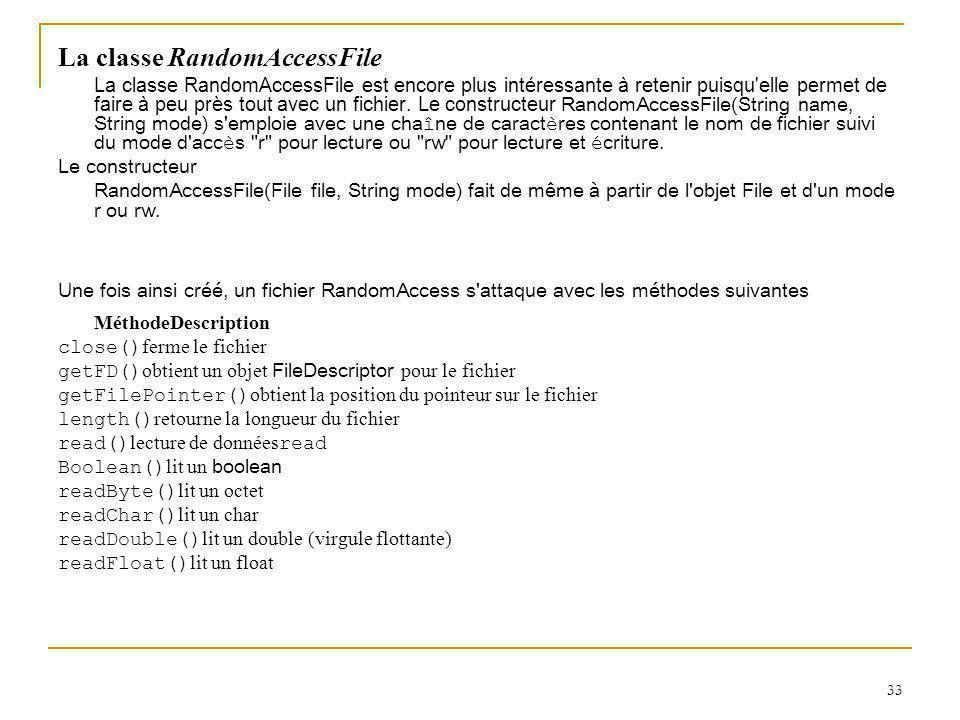 33 La classe RandomAccessFile La classe RandomAccessFile est encore plus intéressante à retenir puisqu elle permet de faire à peu près tout avec un fichier.