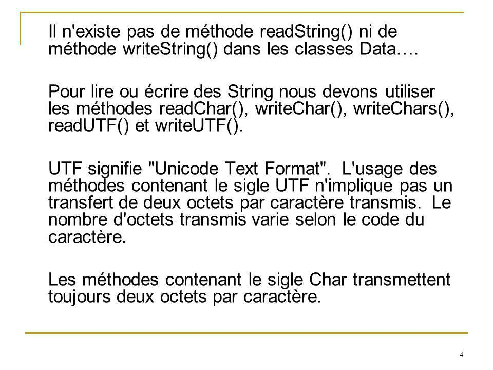 55 Exemple 2: import java.io.*; import javax.swing.JOptionPane; class testerFile { public static void main(String[] args) throws IOException { File repertoire; File fichier=null; File nouveauFichier; String[] listeFichiers; BufferedWriter sortie; String rep; rep=JOptionPane.showInputDialog( Entrer le repertoire : ); repertoire=new File(rep); if (!repertoire.isDirectory()) System.exit(0); fichier=new File( fich.txt ); System.out.println( le fichier +fichier.getName()+(fichier.exists()? existe : n existe pas )); sortie=new BufferedWriter(new FileWriter( fich.txt )); sortie.write( bonjour ); sortie.close(); System.out.println( le fichier +fichier.getName()+ (fichier.exists()? existe : n existe pas )); System.out.println( Sa longueur est +fichier.length()); System.out.println( Son chemin complet est \n +fichier.getAbsolutePath());; System.out.println();