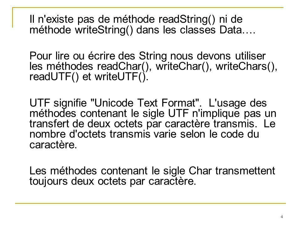 35 writeChar() écrit un char writeChars() écrit une chaîne sous forme de char writeDouble() écrit un double writeFloat() écrit un float writeInt() écrit un int writeLong() écrit un long writeShort() écrit un short int writeUTF() écrit une chaîne de type UTF