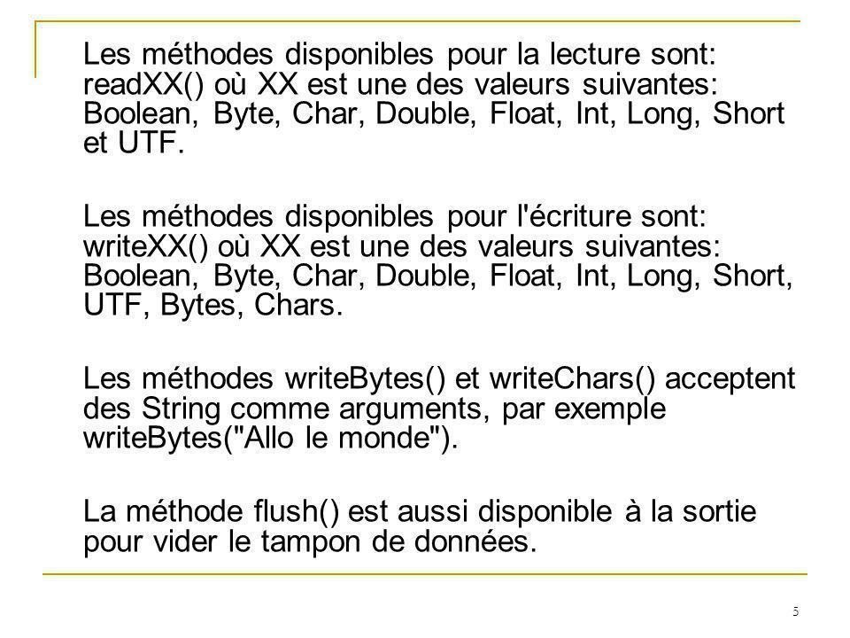 36 /** FICHIERS ACCÈS DIRECT */ import java.io.*; import javax.swing.*; public class Etudiant { int netud; String nom; float note; static RandomAccessFile sortie; final int tnom=20; final int t_enreg=4+(tnom*2)+8; public static void creer_fichier(RandomAccessFile sortie) throws IOException { File f=new File( c:etud.dat ); sortie=new RandomAccessFile( c:etud.dat , rw ); int netudb=0; int i; String nomb= ;ou f float noteb=0.0f; for(i=0;i<20;i++) { sortie.seek(i*t_enreg); sortie.writeInt(netudb); sortie.writeUTF(nomb); sortie.writeFloat(noteb); } sortie.close(); }