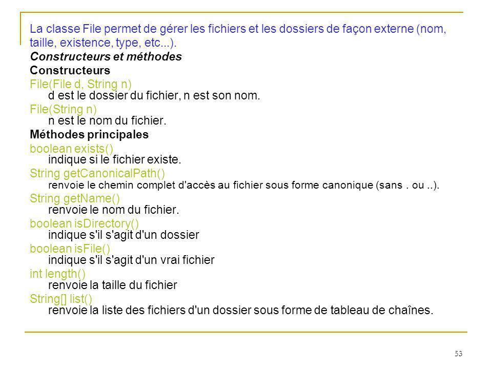 53 La classe File permet de gérer les fichiers et les dossiers de façon externe (nom, taille, existence, type, etc...).