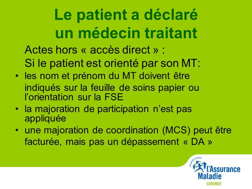 Le patient a déclaré un médecin traitant Actes hors « accès direct » : Si le patient est orienté par son MT: les nom et prénom du MT doivent être indiqués sur la feuille de soins papier ou l'orientation sur la FSE la majoration de participation n'est pas appliquée une majoration de coordination (MCS) peut être facturée, mais pas un dépassement « DA »