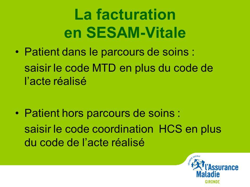 La facturation en SESAM-Vitale Patient dans le parcours de soins : saisir le code MTD en plus du code de l'acte réalisé Patient hors parcours de soins : saisir le code coordination HCS en plus du code de l'acte réalisé