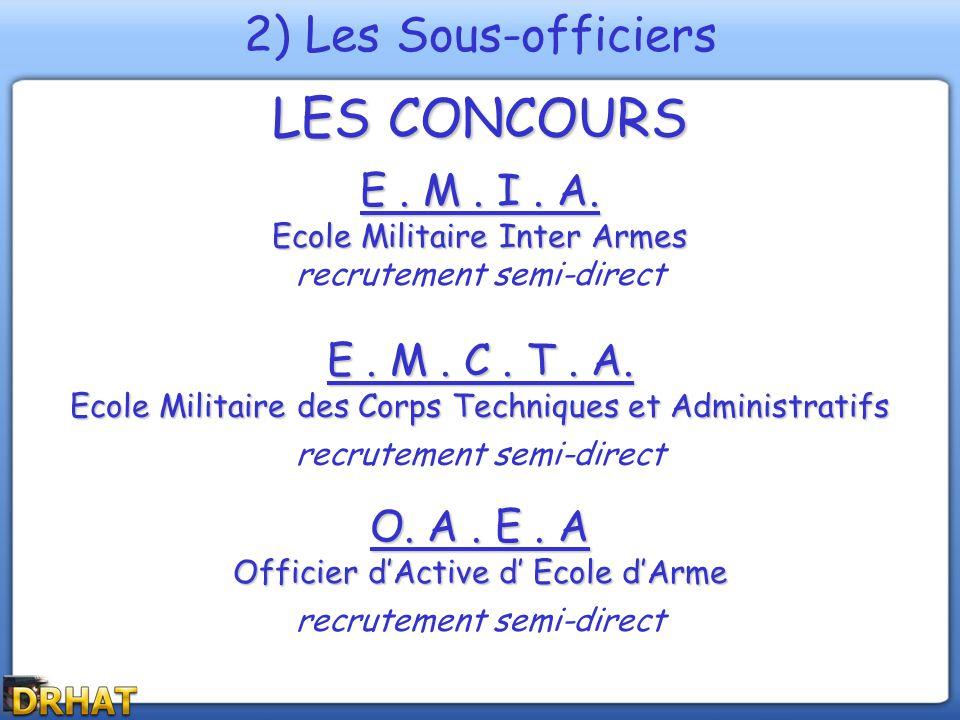 LES CONCOURS E. M. I. A. Ecole Militaire Inter Armes recrutement semi-direct E. M. C. T. A. Ecole Militaire des Corps Techniques et Administratifs rec