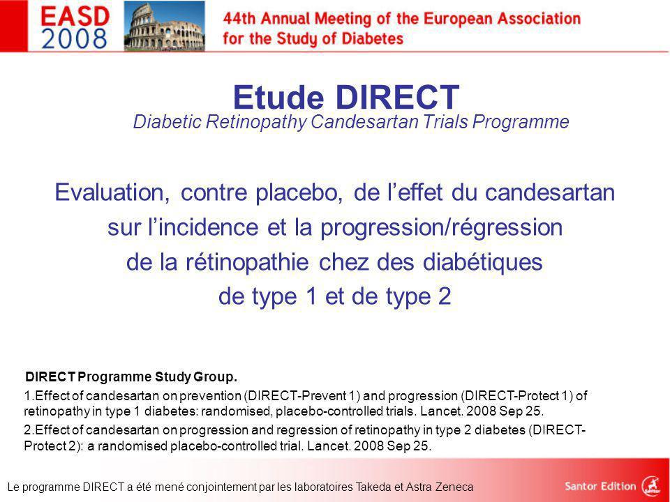 Etude DIRECT Diabetic Retinopathy Candesartan Trials Programme Evaluation, contre placebo, de l'effet du candesartan sur l'incidence et la progression