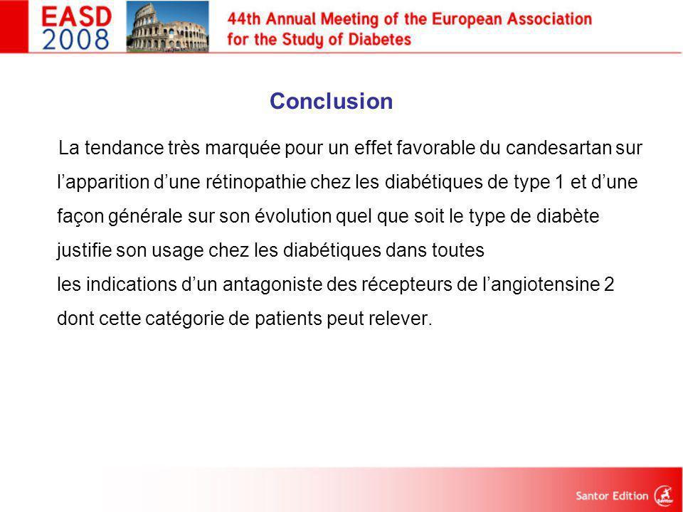 Conclusion La tendance très marquée pour un effet favorable du candesartan sur l'apparition d'une rétinopathie chez les diabétiques de type 1 et d'une