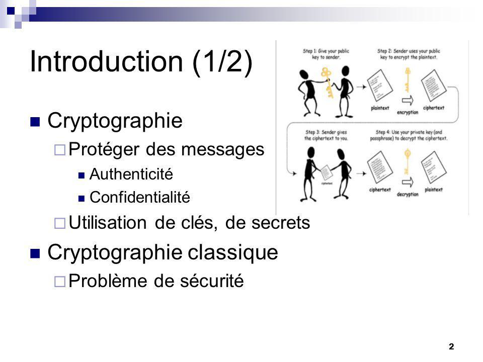 2 Introduction (1/2) Cryptographie  Protéger des messages Authenticité Confidentialité  Utilisation de clés, de secrets Cryptographie classique  Problème de sécurité
