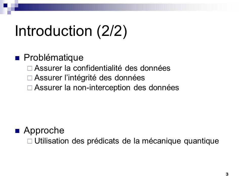 3 Introduction (2/2) Problématique  Assurer la confidentialité des données  Assurer l'intégrité des données  Assurer la non-interception des données Approche  Utilisation des prédicats de la mécanique quantique
