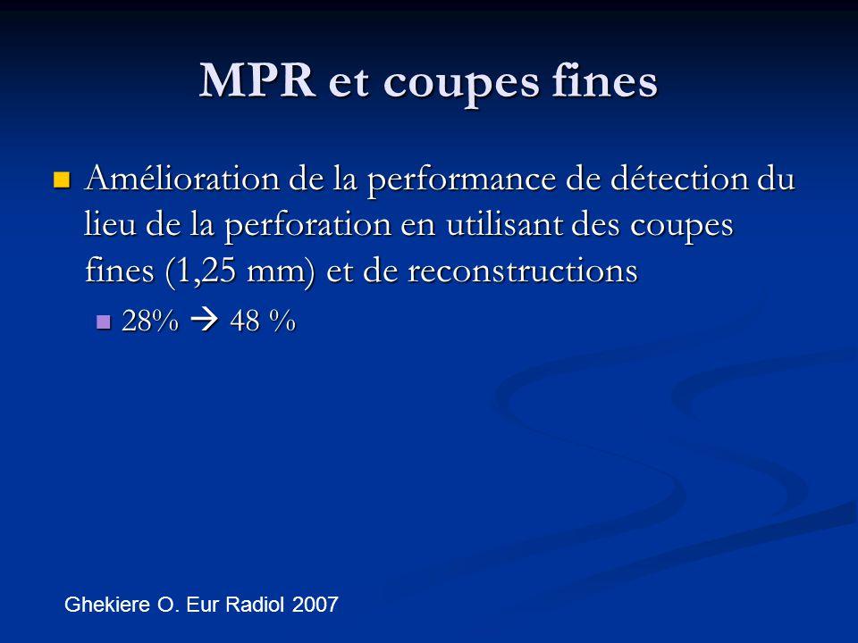 MPR et coupes fines Amélioration de la performance de détection du lieu de la perforation en utilisant des coupes fines (1,25 mm) et de reconstructions Amélioration de la performance de détection du lieu de la perforation en utilisant des coupes fines (1,25 mm) et de reconstructions 28%  48 % 28%  48 % Ghekiere O.