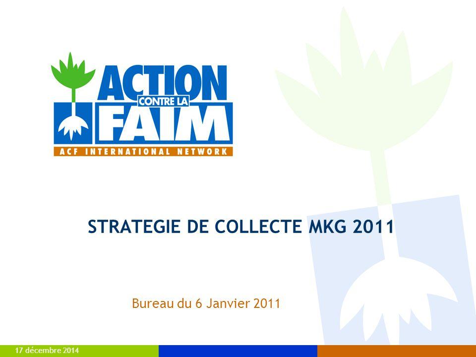 17 décembre 20142 LES RESSOURCES D'ACF  Sur environ 91.8 M€ de ressources ACF en 2010, 40.6 M€ (soit 44.2%) proviennent de la collecte privée (y compris collectivités locales)  MARKETING: 32 Millions d'euros sur 2010 :  MARKETING: 32 Millions d'euros sur 2010 (82 % de la collecte privée) : *hors collectivités locales Dons privés: +30% de collecte brute en 2010 .