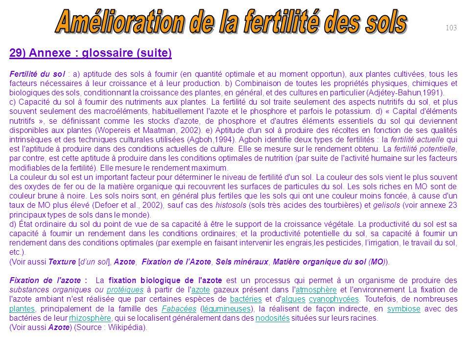 103 29) Annexe : glossaire (suite) Fertilité du sol : a) aptitude des sols à fournir (en quantité optimale et au moment opportun), aux plantes cultivé