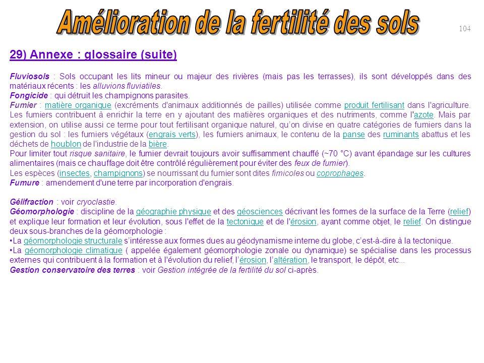 104 29) Annexe : glossaire (suite) Fluviosols : Sols occupant les lits mineur ou majeur des rivières (mais pas les terrasses), ils sont développés dan