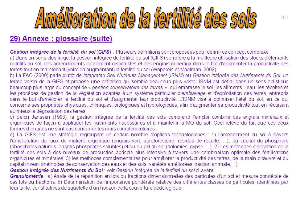 105 29) Annexe : glossaire (suite) Gestion intégrée de la fertilité du sol (GIFS) : Plusieurs définitions sont proposées pour définir ce concept compl