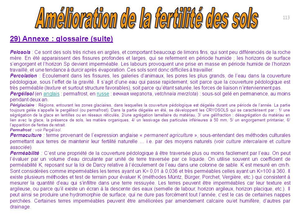 29) Annexe : glossaire (suite) Pelosols : Ce sont des sols très riches en argiles, et comportant beaucoup de limons fins, qui sont peu différenciés de