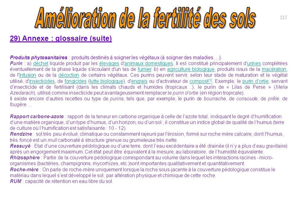29) Annexe : glossaire (suite) Produits phytosanitaires : produits destinés à soigner les végétaux (à soigner des maladies …). Purin : a) déchet liqui