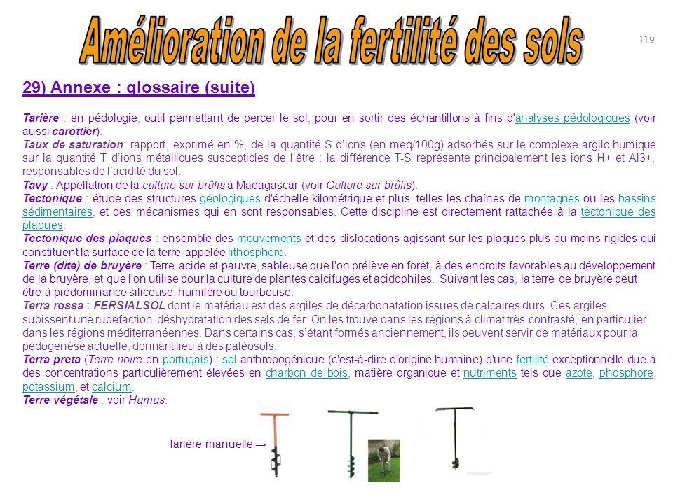 29) Annexe : glossaire (suite) Tarière : en pédologie, outil permettant de percer le sol, pour en sortir des échantillons à fins d'analyses pédologiqu
