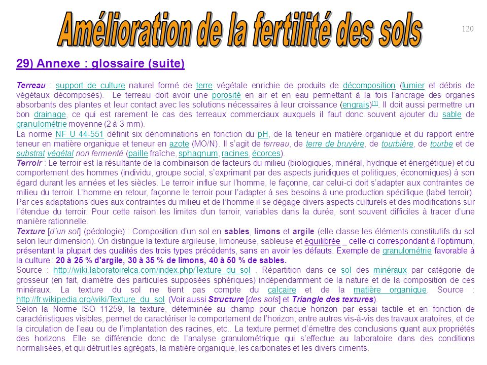 29) Annexe : glossaire (suite) Terreau : support de culture naturel formé de terre végétale enrichie de produits de décomposition (fumier et débris de