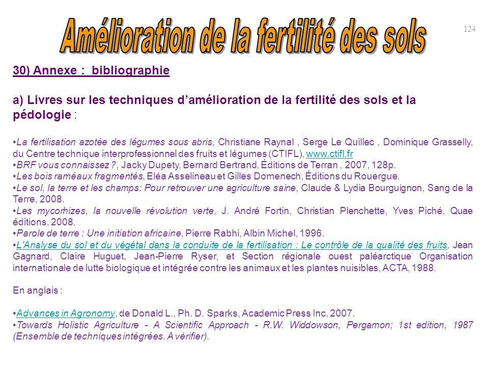 30) Annexe : bibliographie a) Livres sur les techniques d'amélioration de la fertilité des sols et la pédologie : La fertilisation azotée des légumes
