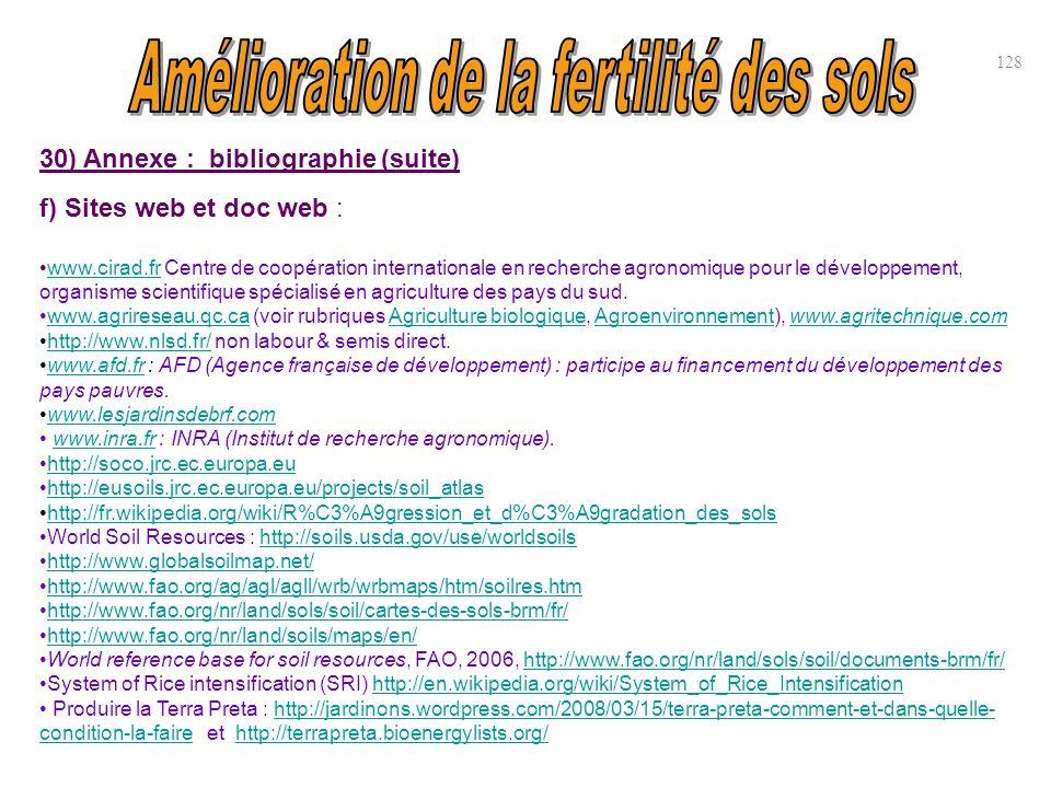 30) Annexe : bibliographie (suite) f) Sites web et doc web : www.cirad.fr Centre de coopération internationale en recherche agronomique pour le dévelo