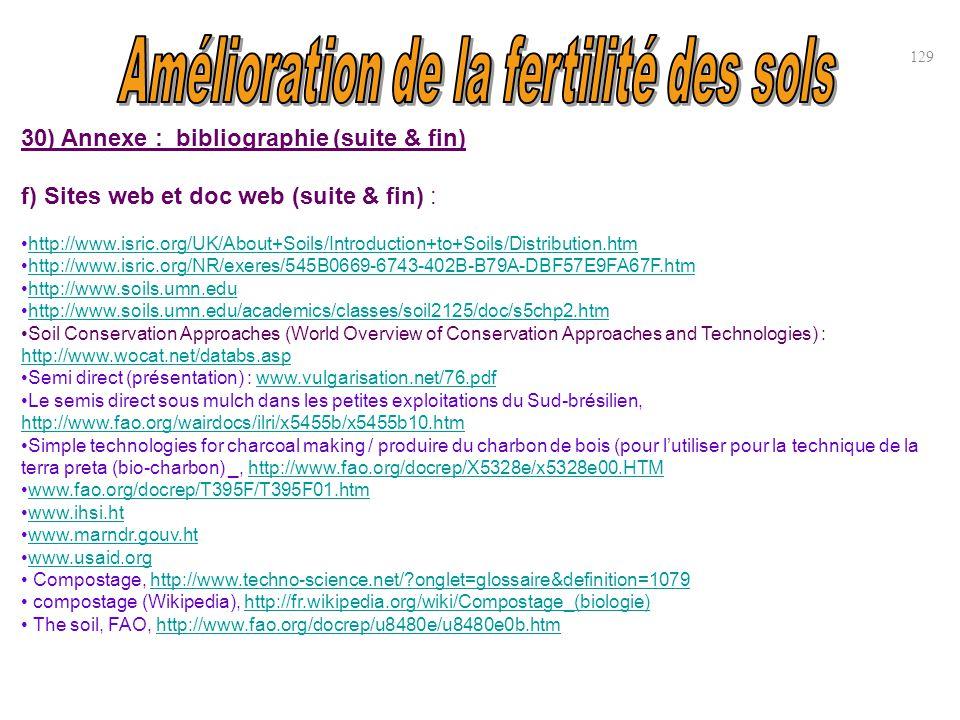 30) Annexe : bibliographie (suite & fin) f) Sites web et doc web (suite & fin) : http://www.isric.org/UK/About+Soils/Introduction+to+Soils/Distributio