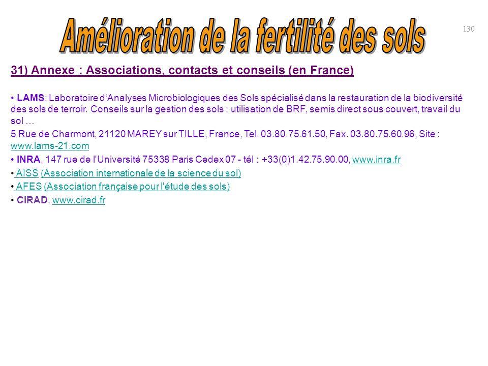 31) Annexe : Associations, contacts et conseils (en France) LAMS: Laboratoire d'Analyses Microbiologiques des Sols spécialisé dans la restauration de
