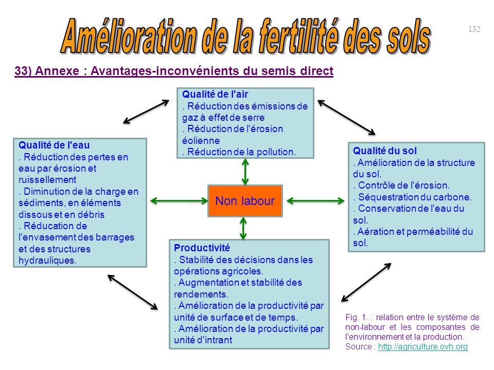 33) Annexe : Avantages-inconvénients du semis direct 132 Non labour Qualité de l'air. Réduction des émissions de gaz à effet de serre. Réduction de l'