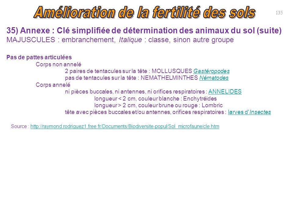 35) Annexe : Clé simplifiée de détermination des animaux du sol (suite) MAJUSCULES : embranchement, Italique : classe, sinon autre groupe Pas de patte