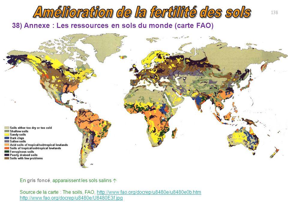 38) Annexe : Les ressources en sols du monde (carte FAO) En gris foncé, apparaissent les sols salins ↑ Source de la carte : The soils, FAO, http://www