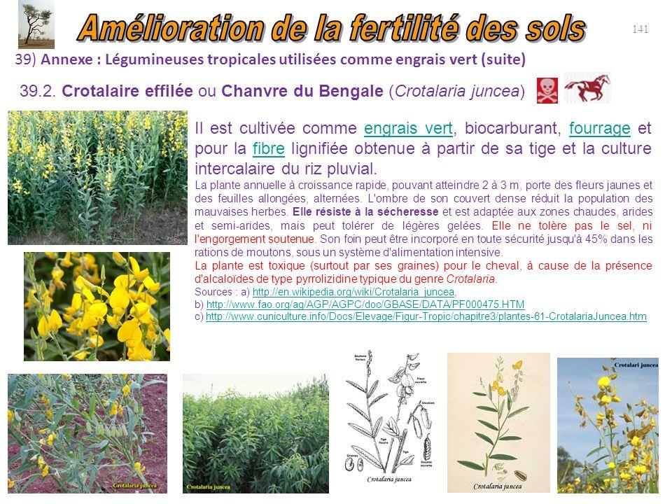 39) Annexe : Légumineuses tropicales utilisées comme engrais vert (suite) 141 Il est cultivée comme engrais vert, biocarburant, fourrage et pour la fi