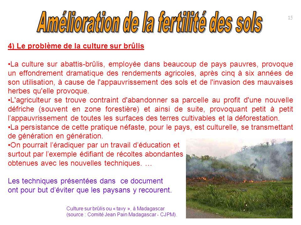 15 4) Le problème de la culture sur brûlis La culture sur abattis-brûlis, employée dans beaucoup de pays pauvres, provoque un effondrement dramatique