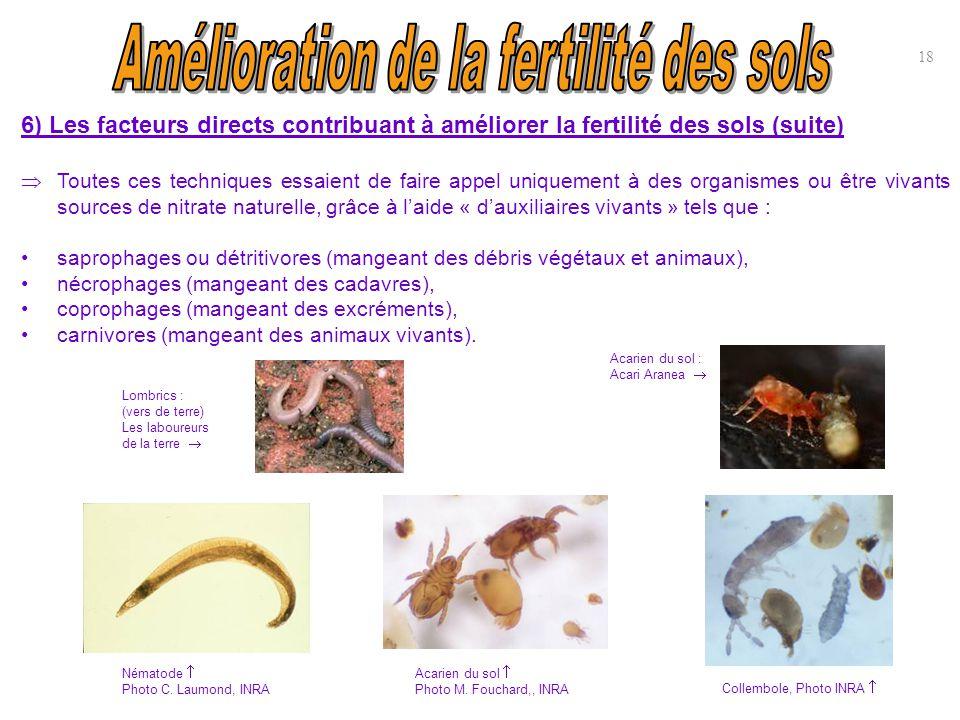 6) Les facteurs directs contribuant à améliorer la fertilité des sols (suite)  Toutes ces techniques essaient de faire appel uniquement à des organis